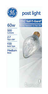 GE Lighting  Saf-T-Gard  60 watts F20  Incandescent Bulb  500 lumens White  Specialty  1 pk