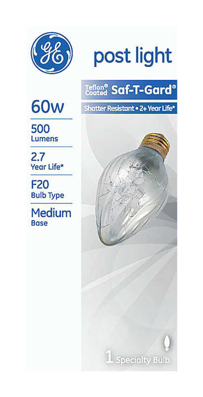 GE  Saf-T-Gard  60 watts F20  Incandescent Bulb  500 lumens Soft White  Specialty  1 pk