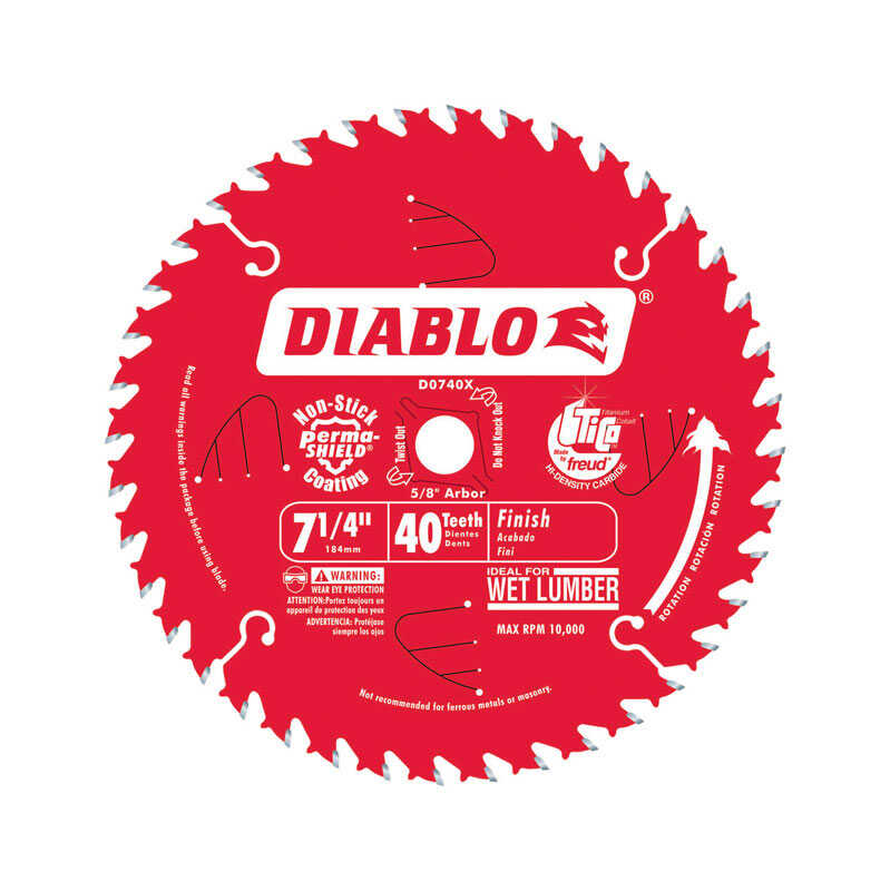 Diablo  0.04 in.  7-1/4  Circular Saw Blade  5/8  40 teeth Carbide Tip Steel
