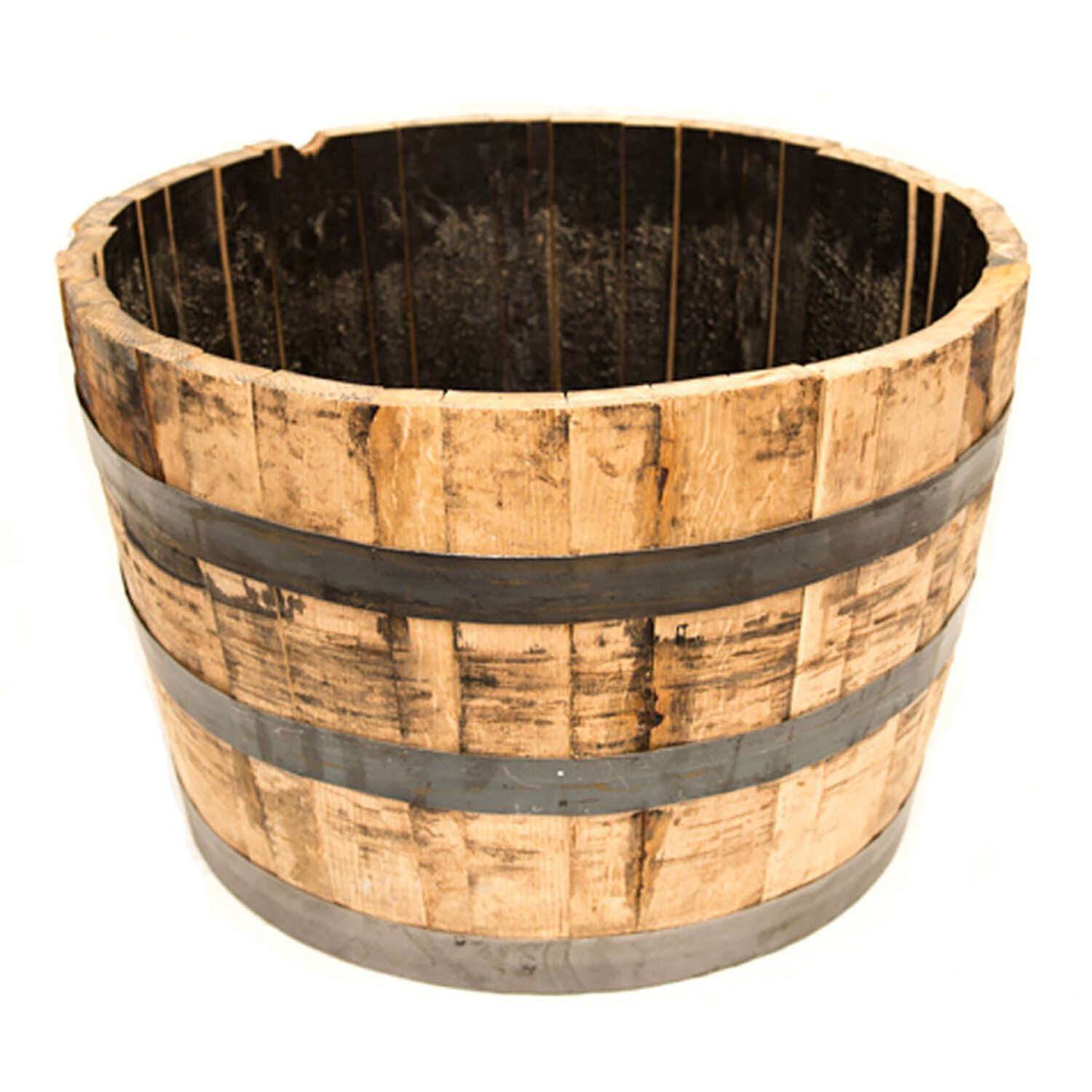 Real Wood Products  17 in. H x 26 in. W x 26 in. Dia. Natural  Oak  Whiskey Barrel  Planter