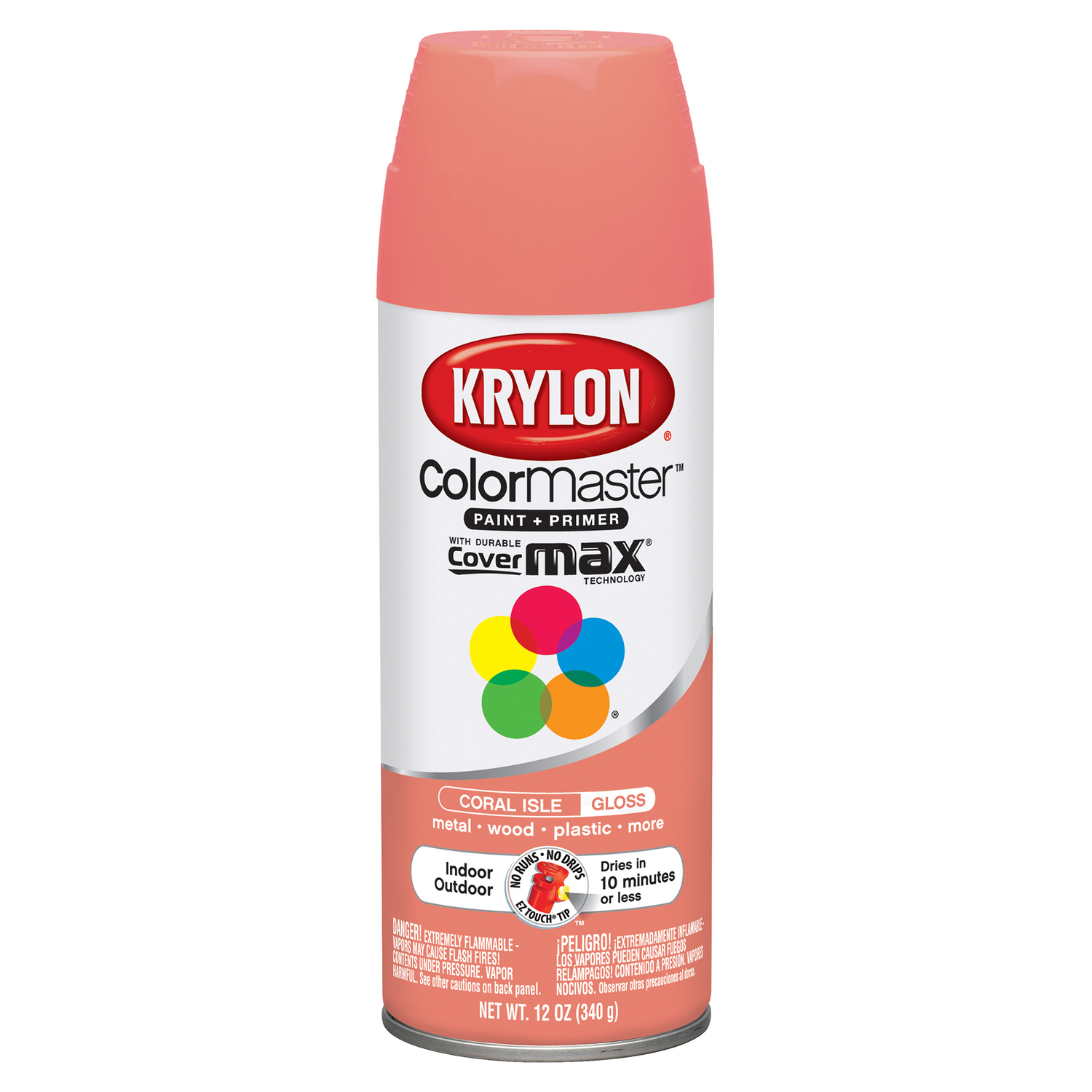 Krylon  ColorMaster  Gloss  Spray Paint  12 oz. Coral Isle