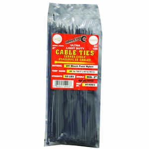 Tool City  8 in. L Black  Cable Tie  100 pk