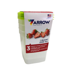 Arrow Home Products  1 qt. Food Container and Lid  3 pk White