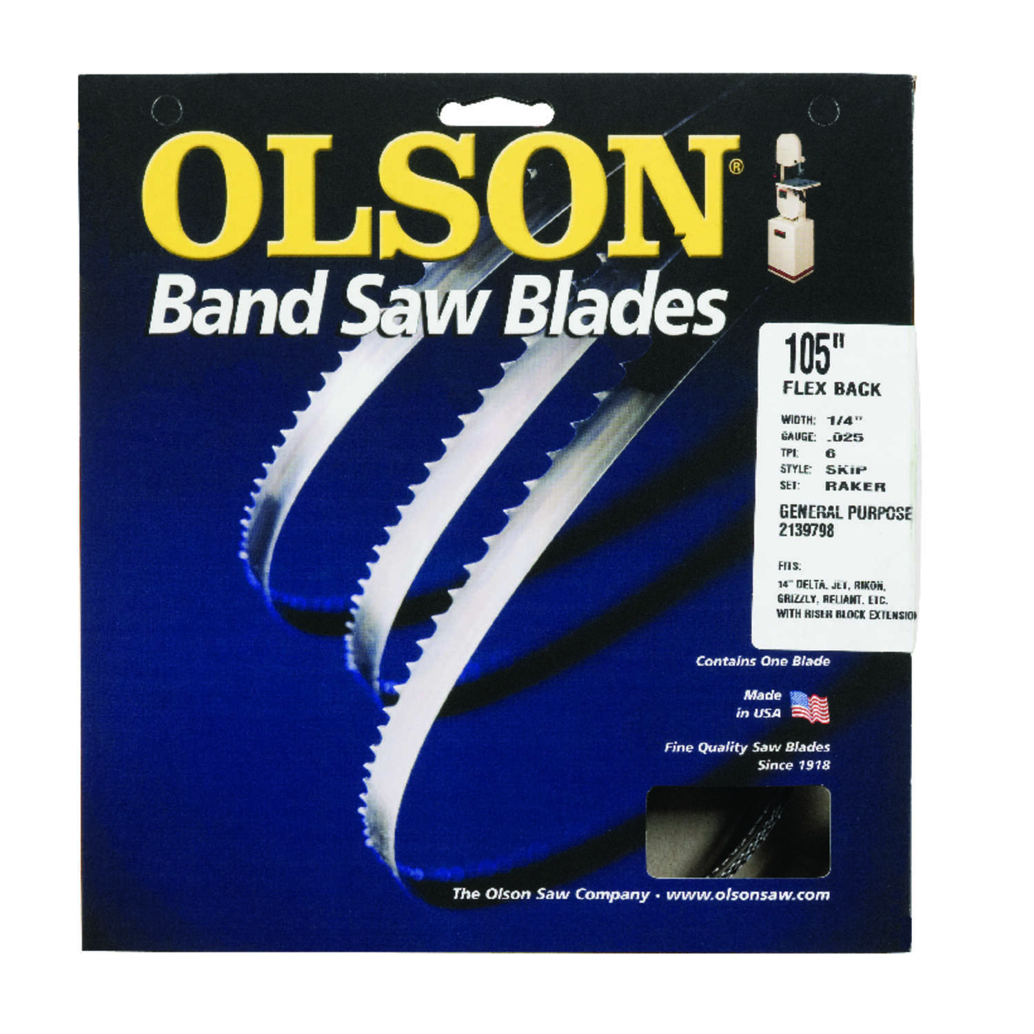 Olson  105 in. L x 0.25 in. W x 0.025 in. thick  Carbon Steel  Skip  Band Saw Blade  6 TPI Skip teet