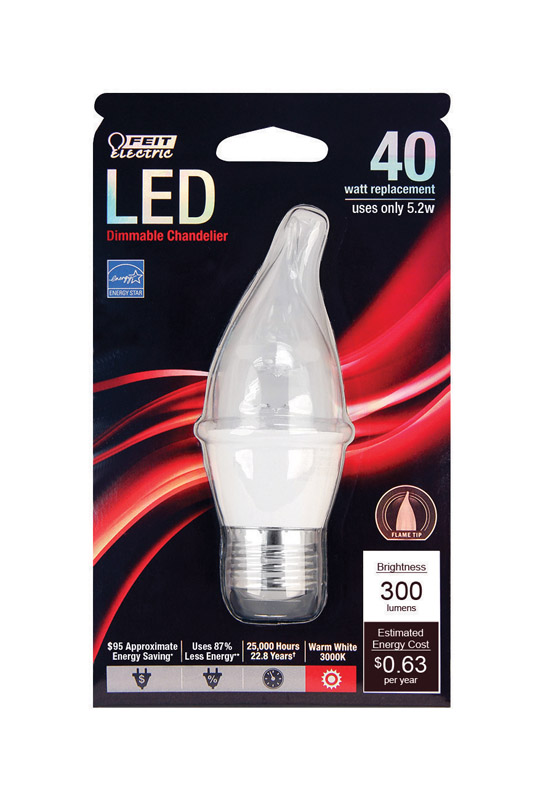 FEIT Electric  5.2 watts CA10  LED Bulb  310 lumens Soft White  40 Watt Equivalence Decorative