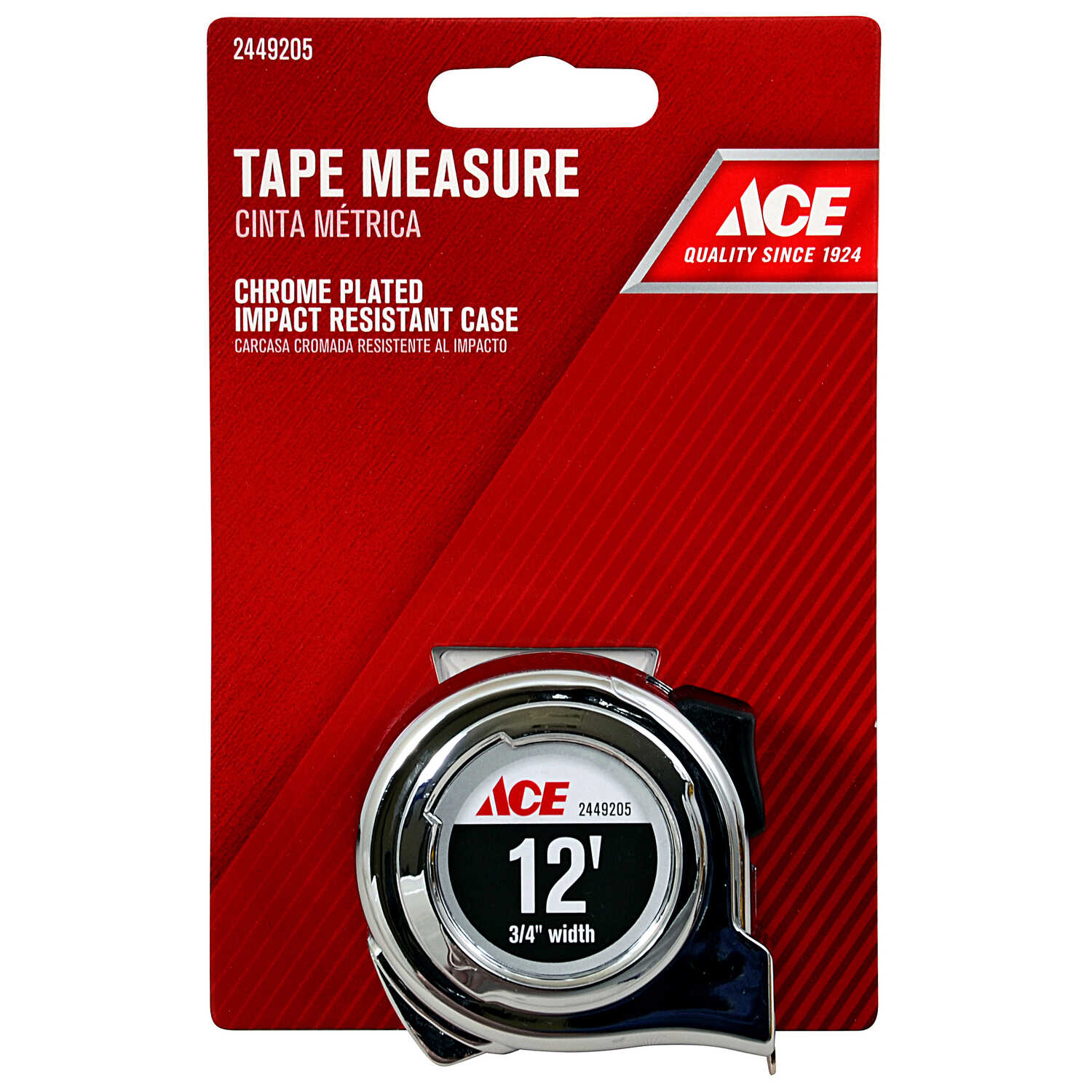Ace  12 ft. L x 0.75 in. W Tape Measure  Chrome  1 pk