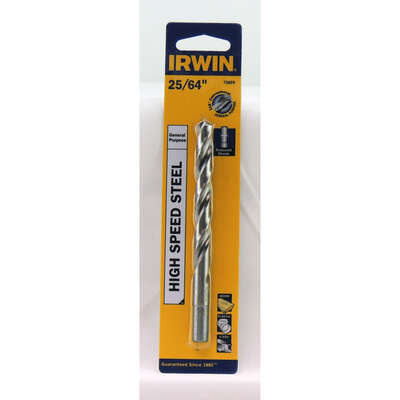 Irwin  25/64 in.  x 5-1/8 in. L High Speed Steel  Drill Bit  1 pc.