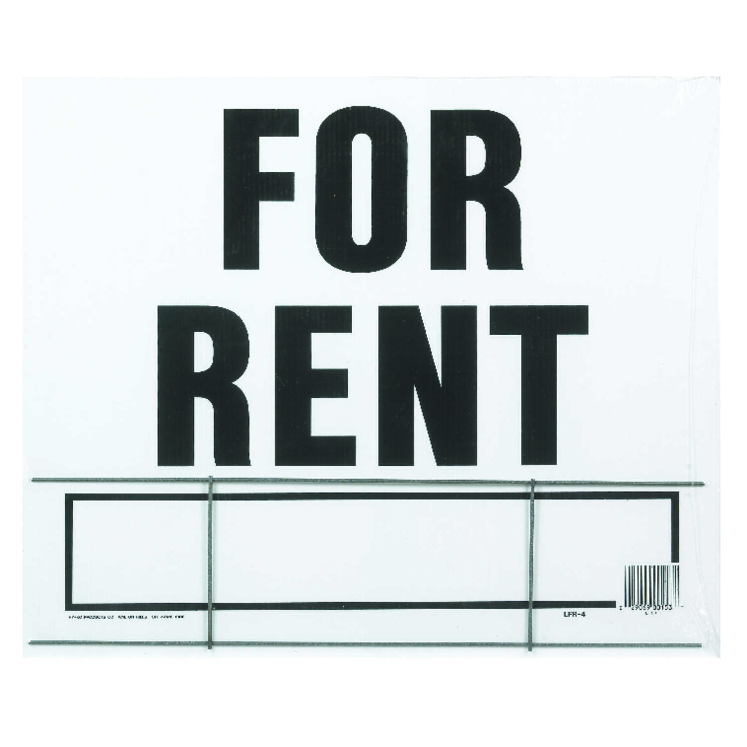 Hy-Ko  English  For Rent  Sign  20 in. H x 24 in. W Plastic