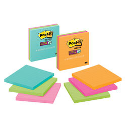 Post-it  4 in. W x 4 in. L Assorted  Lined Sticky Notes  3 pad