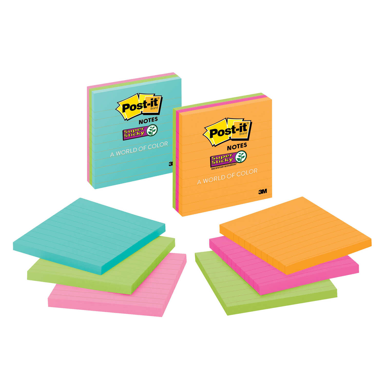 Post-It  4 in. W x 4 in. L Assorted  Sticky Notes  4 pad