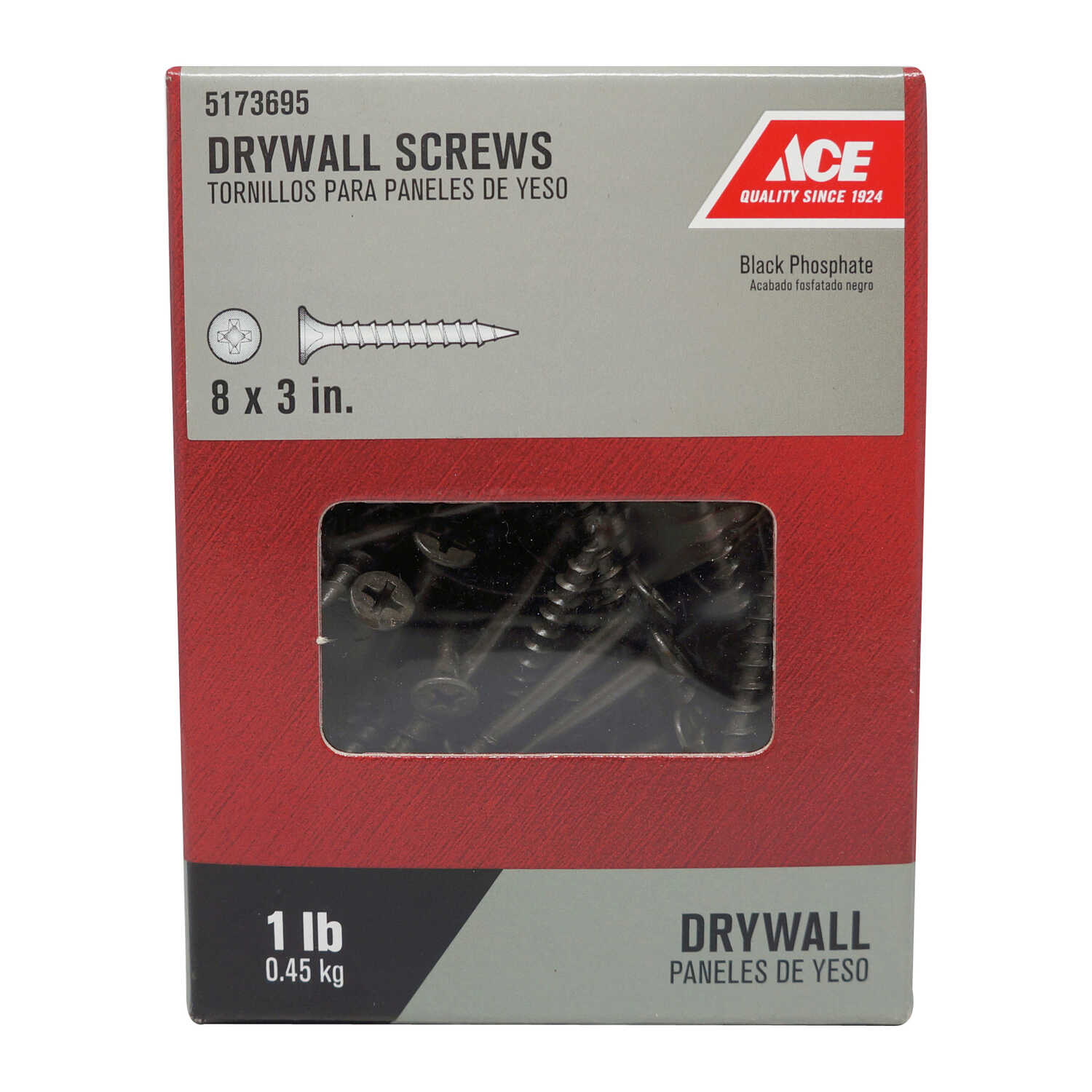 Ace  No. 8   x 2-1/2 in. L Phillips  Bugle Head Black Phosphate  Steel  Drywall Screws  1 lb. 173 pk