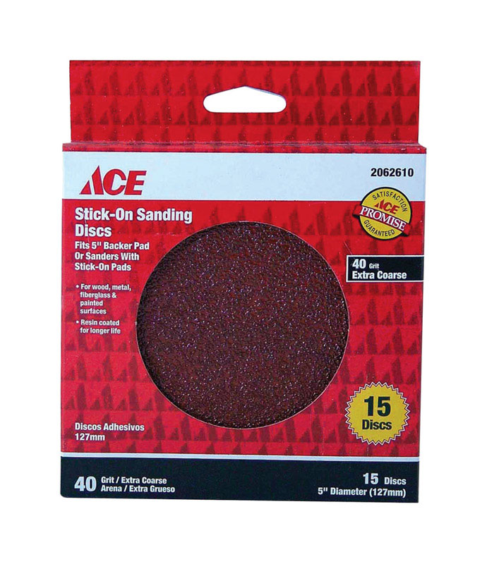 Ace  5 in. Aluminum Oxide  Sanding Disc  Coarse  40 Grit Adhesive  15 pk
