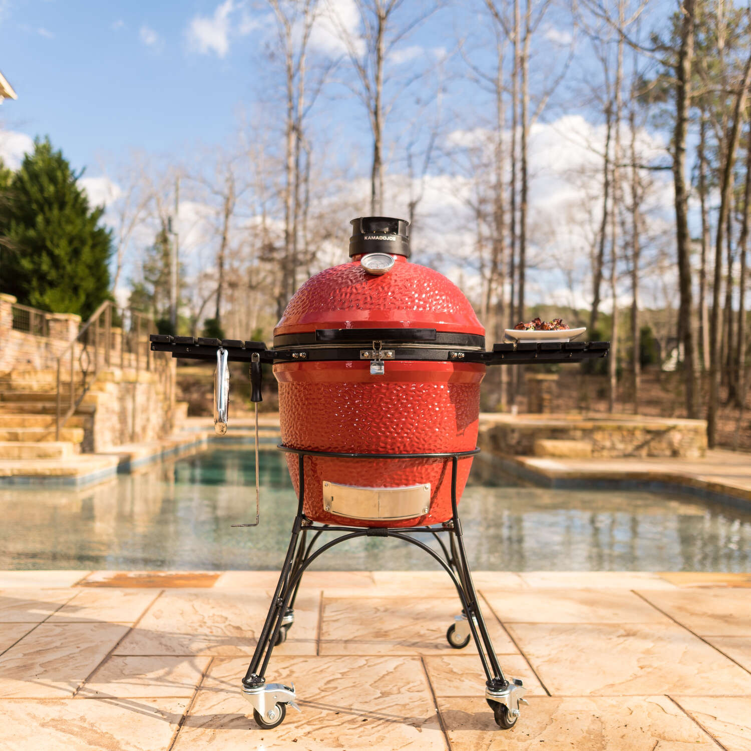 Kamado Joe  Classic Joe  Charcoal  46.5 in. W Grill  Red