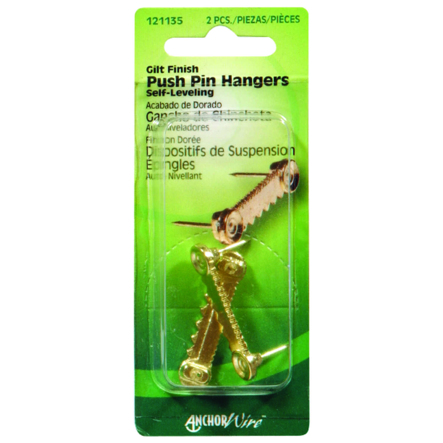 Hillman  AnchorWire  Gilt  Brass  Picture Hanger  Push Pin  2 pk 1 lb.