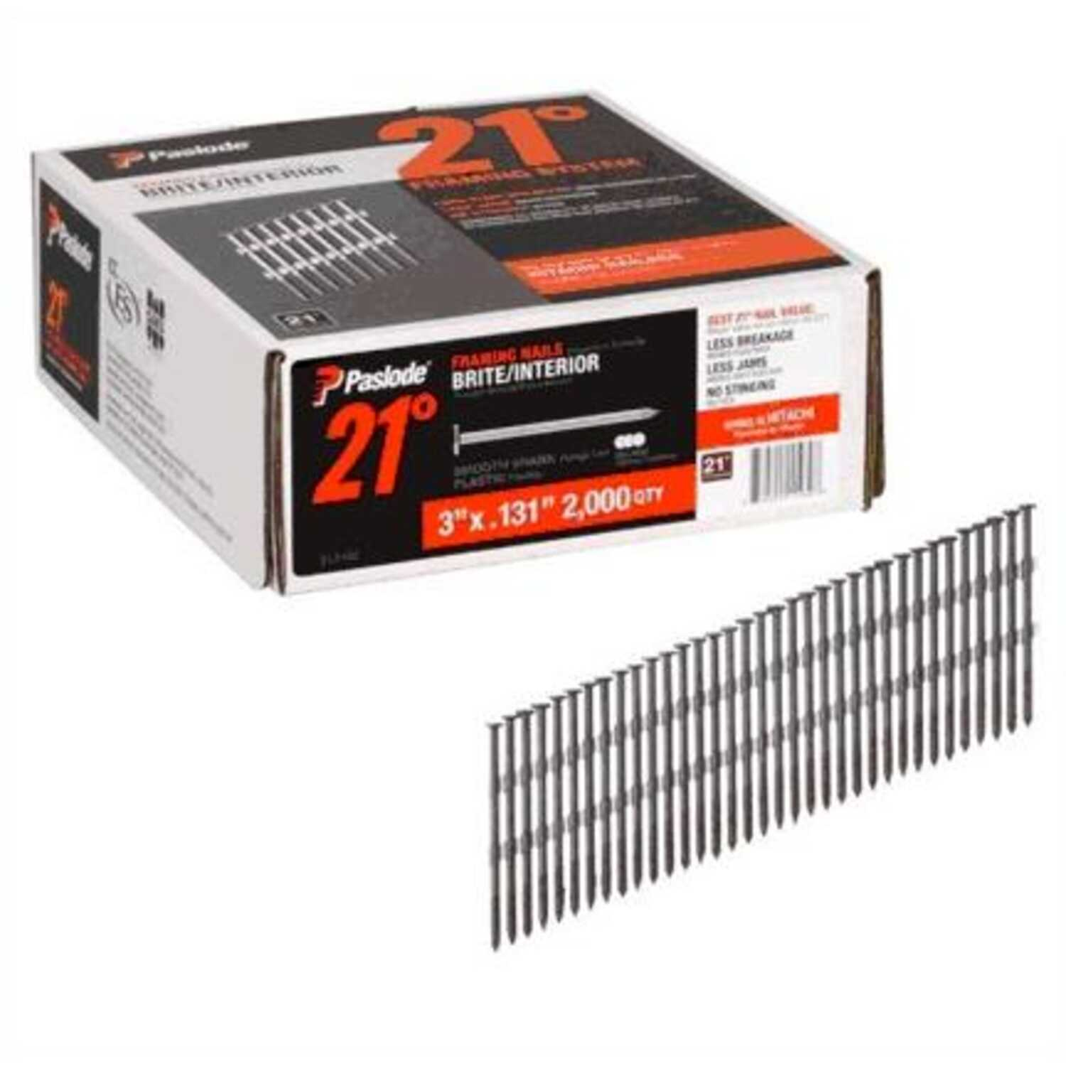 Paslode  21 deg. 16 Ga. Smooth Shank  Angled Strip  Framing Nails  3 in. L x 0.131 in. Dia. 2,000 pk