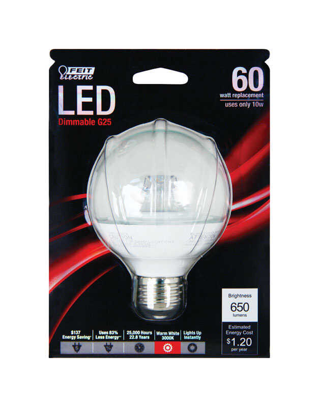 FEIT Electric  10 watts G25  LED Bulb  650 lumens Warm White  Globe  60 Watt Equivalence