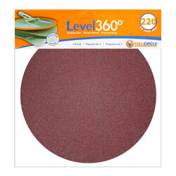 Full Circle Level 360 8.75 in. Aluminum Oxide Hook and Loop Sanding Disc 220 Grit Very Fine 5