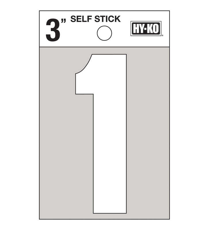 Hy-Ko  Reflective Vinyl  3 in. Number  Self-Adhesive  1  White