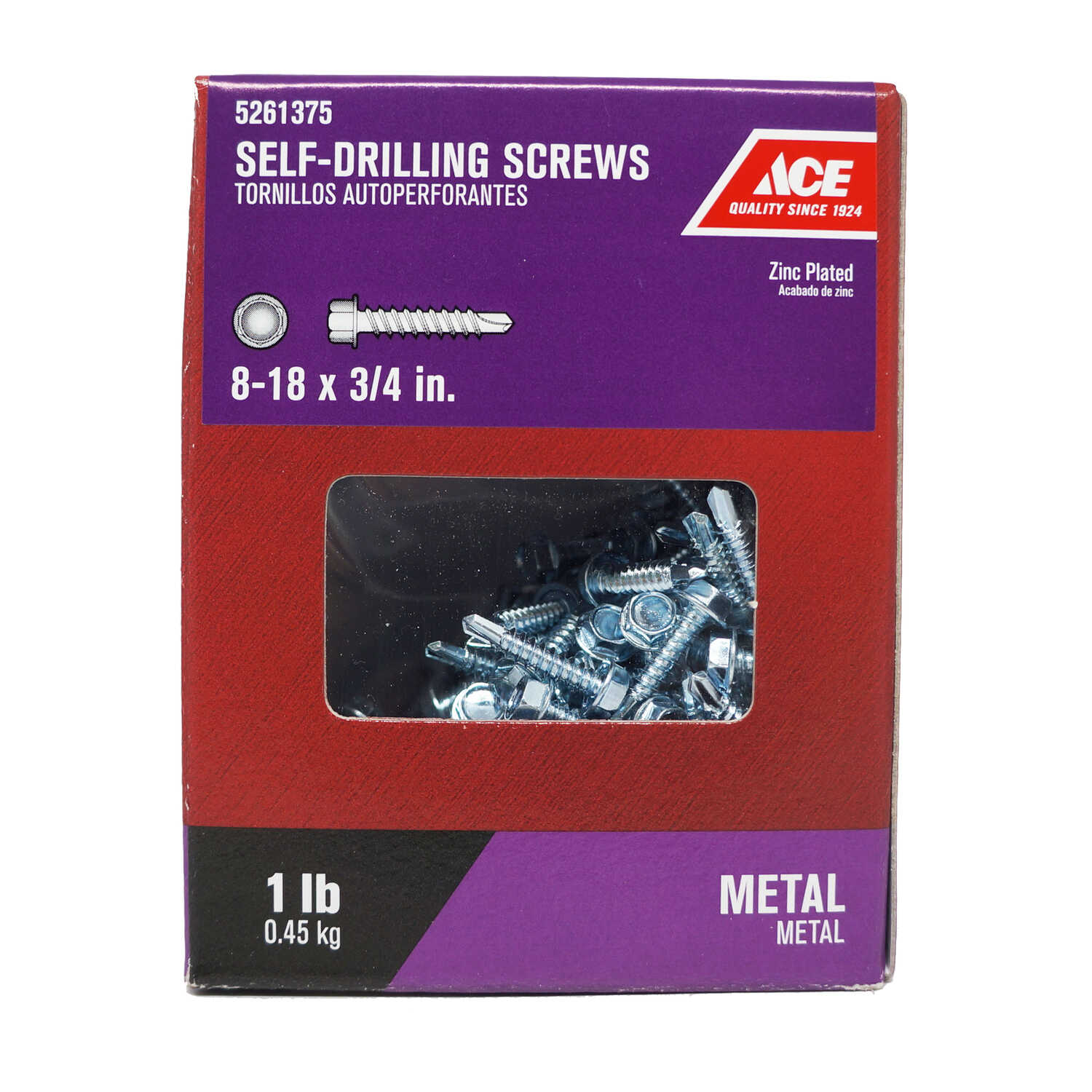 Ace  8-18 Sizes  x 3/4 in. L Hex Washer Head Zinc-Plated  Steel  Self- Drilling Screws  1 lb.