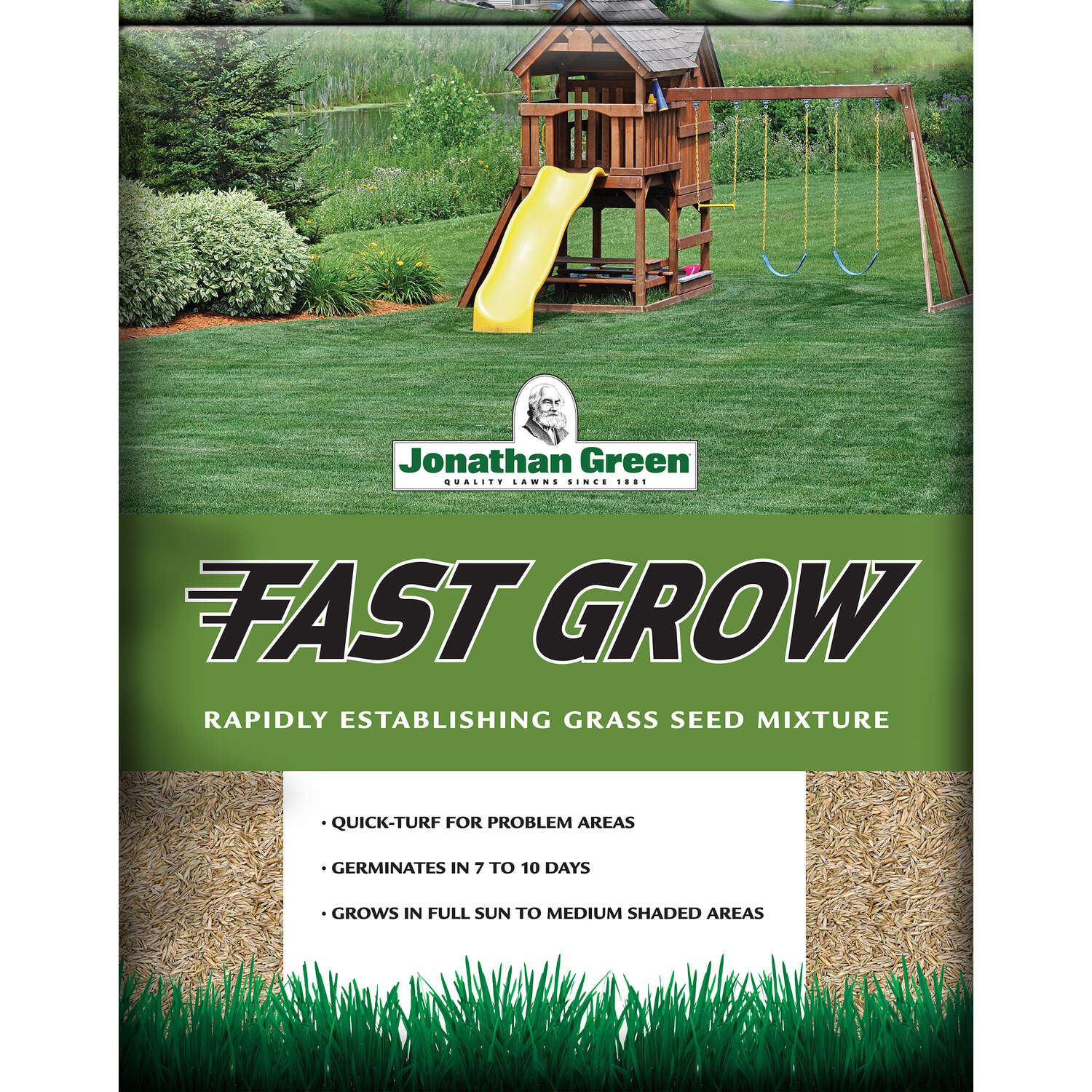 Jonathan Green  Fast Grow  Mixed  Sun/Partial Shade  Grass Seed  3 lb.