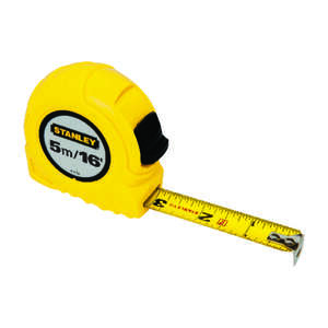 Stanley  0.75 in. W x 16 ft. L Tape Measure  Yellow  1 pk