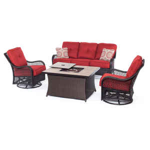 Hanover  4 pc. Brown  Resin  Firepit Set  Red