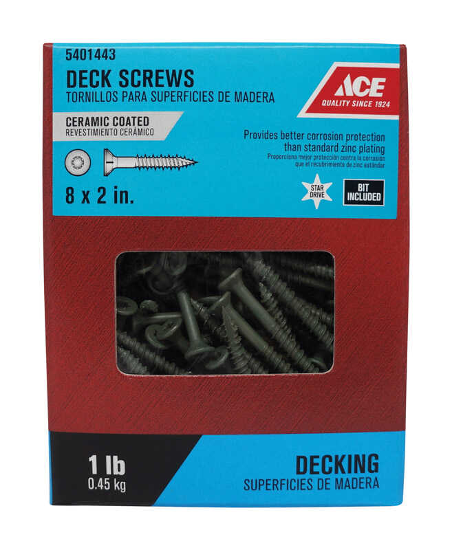 Ace  No. 8   x 2 in. L Star  Bugle Head Ceramic Coated  Steel  Premium Deck Screws  1 lb. 117 pk