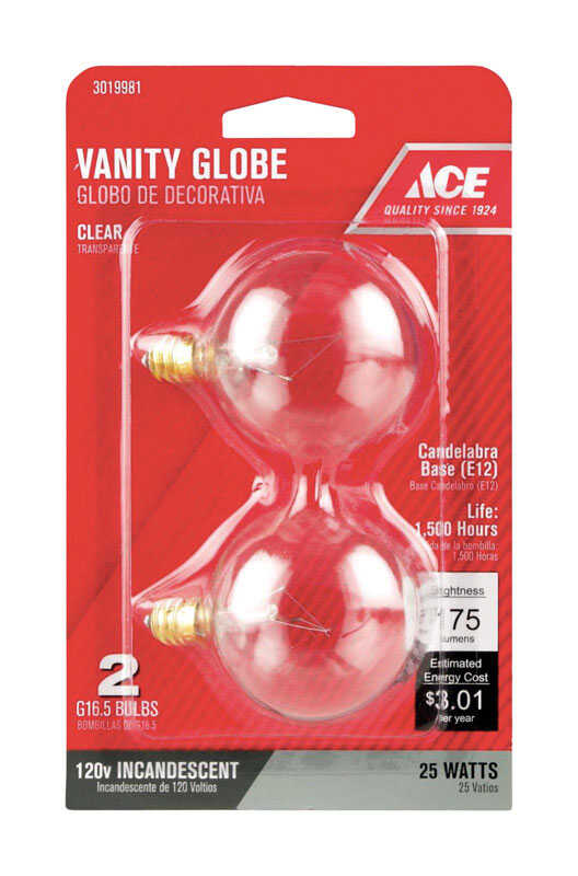 Ace  Incandescent Light Bulb  25 watts 235 lumens 2700 K Candelabra Base (E12)  2 pk G16-1/2