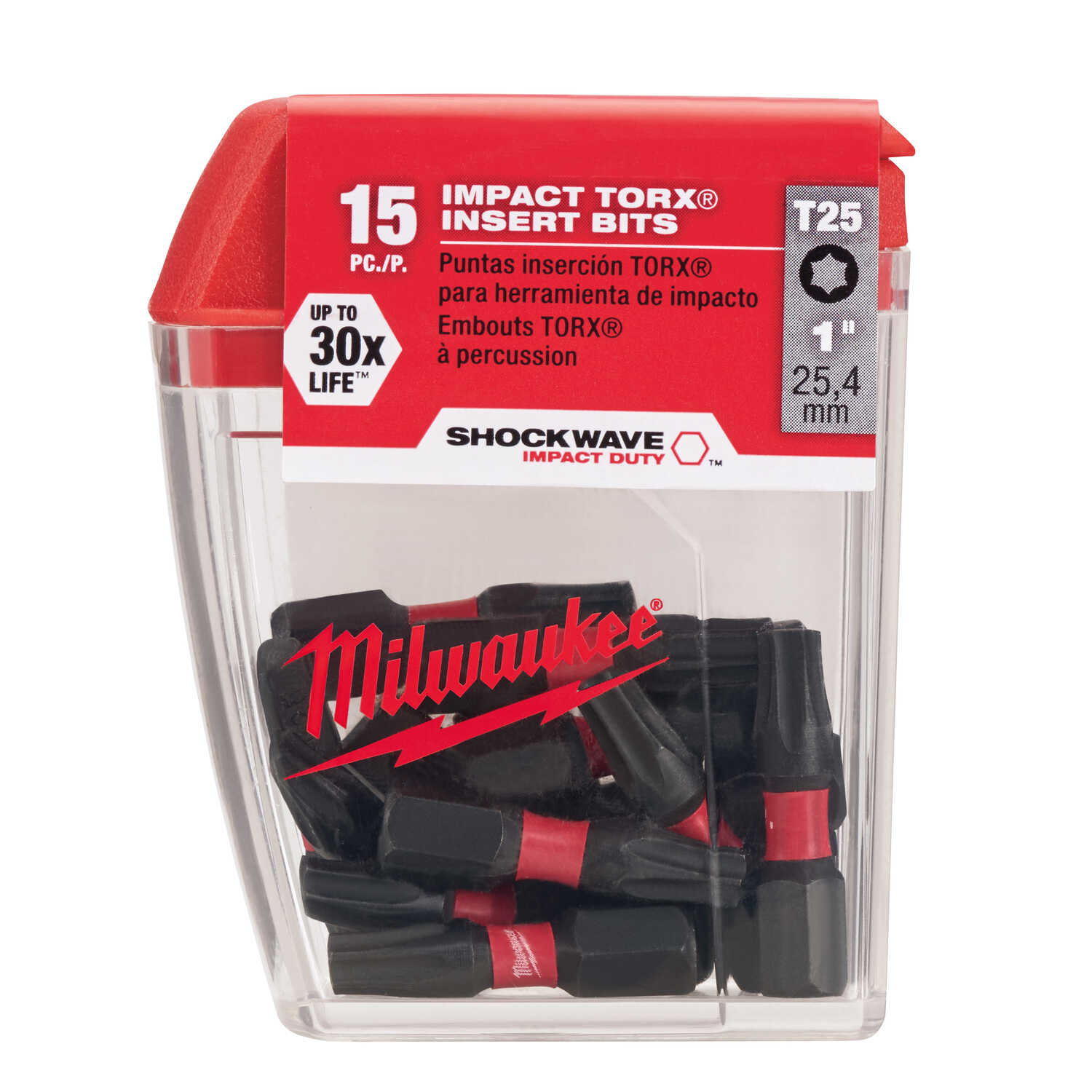 Milwaukee  SHOCKWAVE  Torx  T25   x 1 in. L Impact Insert Bit Set  Steel  1/4 in. Hex Shank  15 pc.
