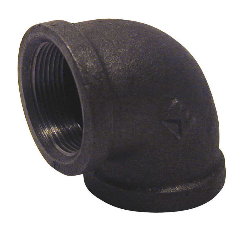 B & K  3/4 in. FPT   x 3/4 in. Dia. FPT  Black  Malleable Iron  Elbow