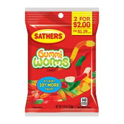 Sathers Fruity Worms Gummi Candy 4-1/4 oz.