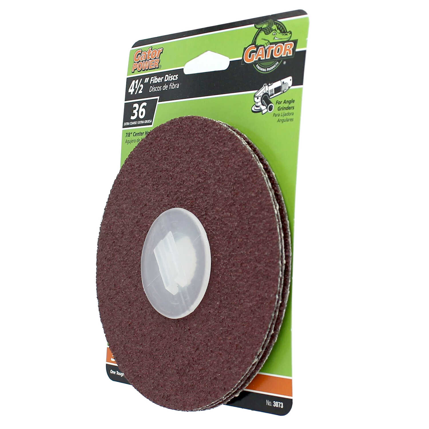 Gator  4.5 in. Aluminum Oxide  Center Mount  Fiber Disc  36 Grit Extra Coarse  3 pk