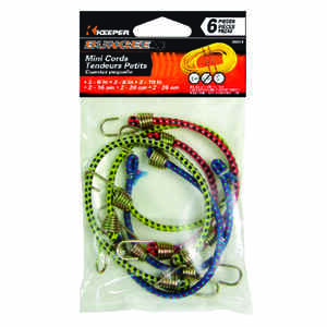 Keeper  Assorted  Bungee Cord Set  0.16 in.  6 pk