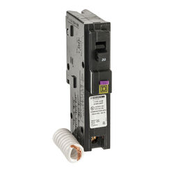 Square D  HomeLine  20 amps Dual Function (CAFCI and GFCI)  Single Pole  Circuit Breaker