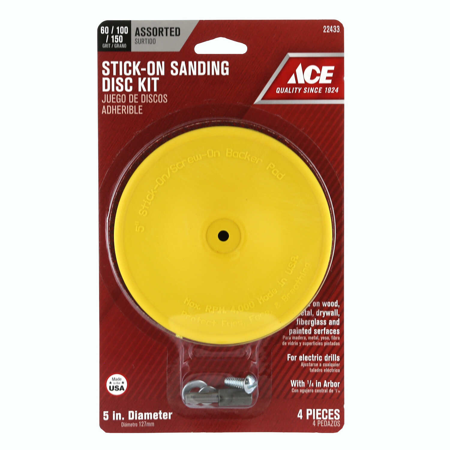 Ace  Plastic  Backing Pad  1/4 in.  3000 rpm 1 pc.