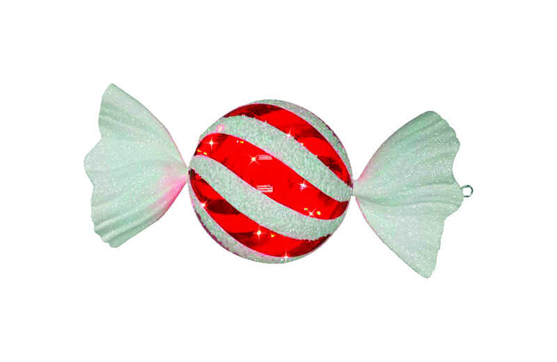 Celebrations  LED Striped Candy  Christmas Decoration  Red/White  Plastic  1 pk