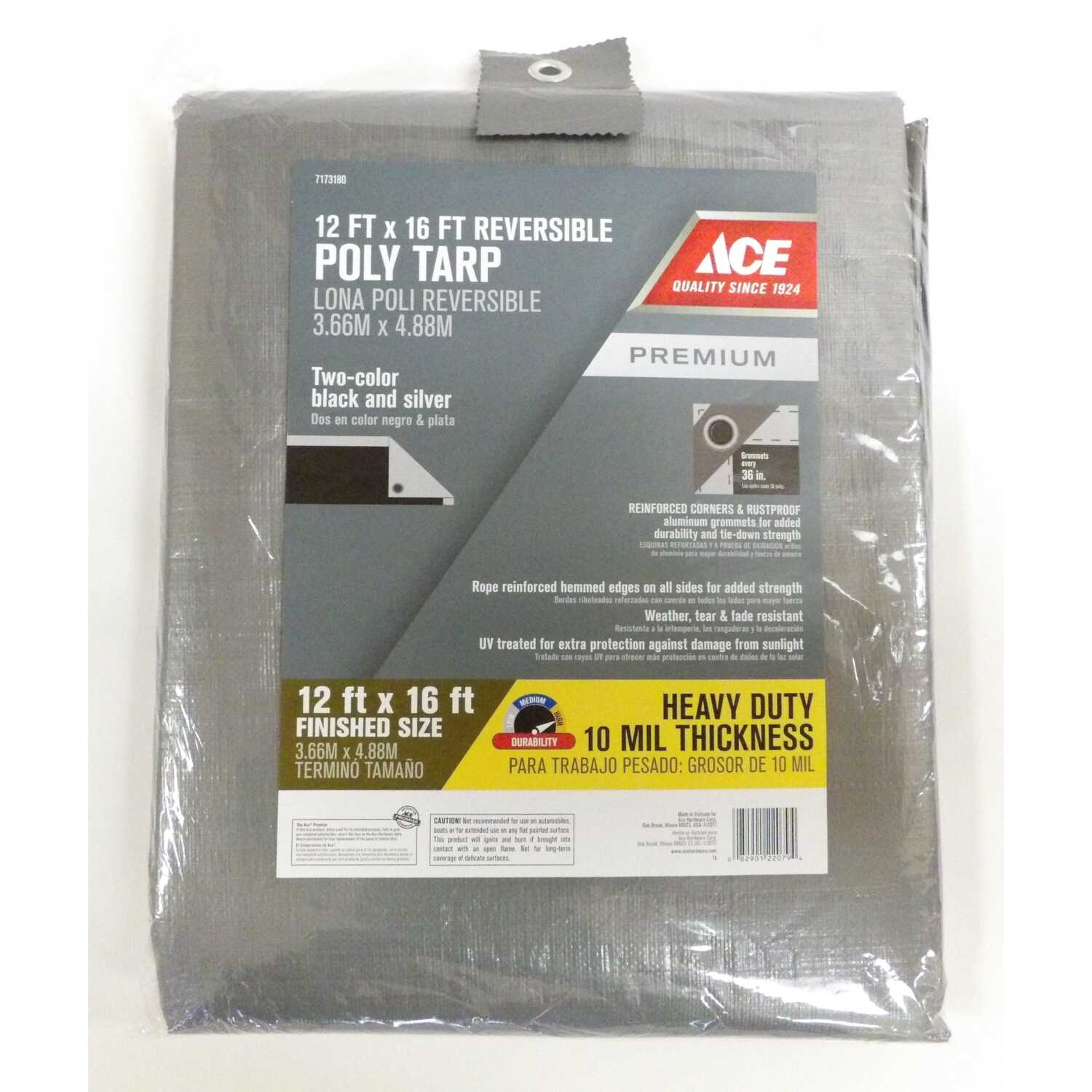 Ace  12 ft. W x 16 ft. L Heavy Duty  Black/Silver  Tarp  Polyethylene
