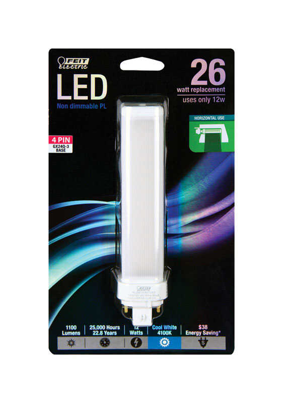 FEIT Electric  12 watts PL  LED Bulb  1100 lumens Linear  26 Watt Equivalence Cool White