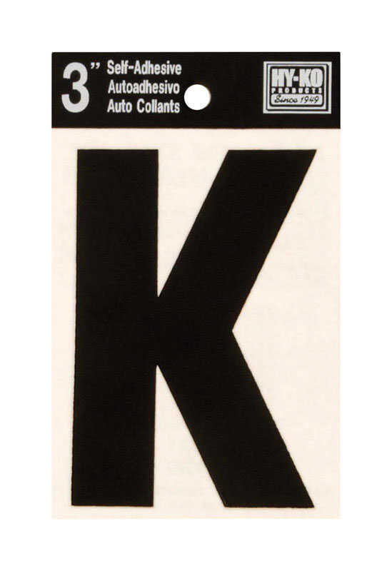 Hy-Ko  3 in. Black  Vinyl  Letter  K  Self-Adhesive  10 pc.