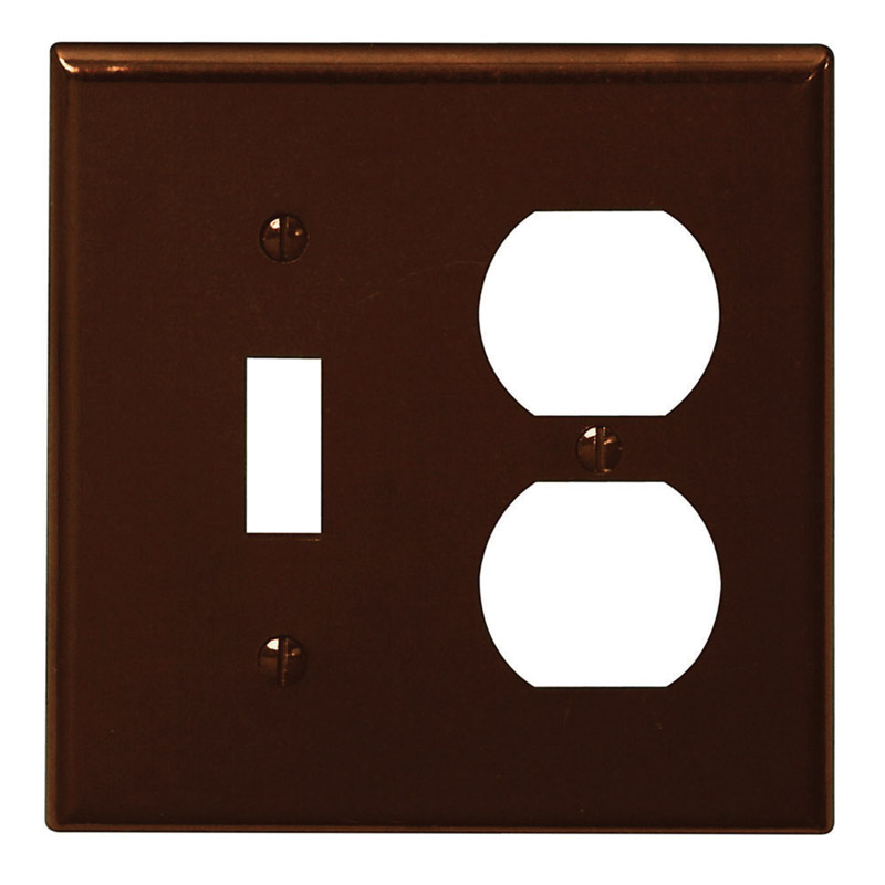 Leviton  Brown  2 gang Plastic  Duplex/Toggle  Wall Plate  1 pk