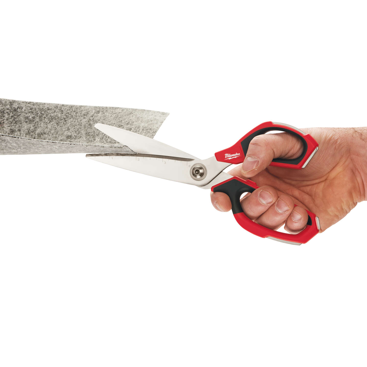 Milwaukee  9 in. Iron Carbide  Smooth  Straight  Jobsite Scissors  Red  1 pc.