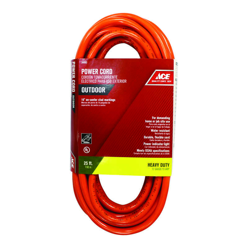 Ace  Indoor and Outdoor  25 ft. L Orange  Extension Cord  12/3 SJTW