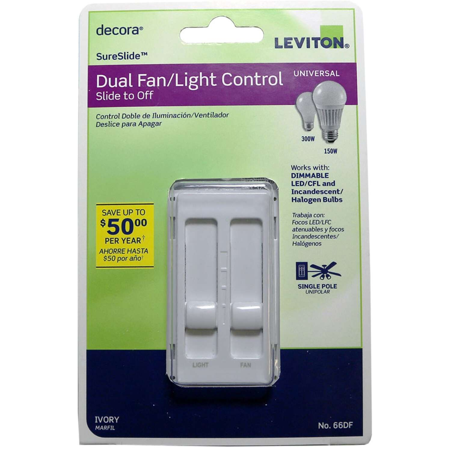 Leviton  Decora SureSlide  Ivory  Fan/LED  Dimmer Slide Switch  1 pk