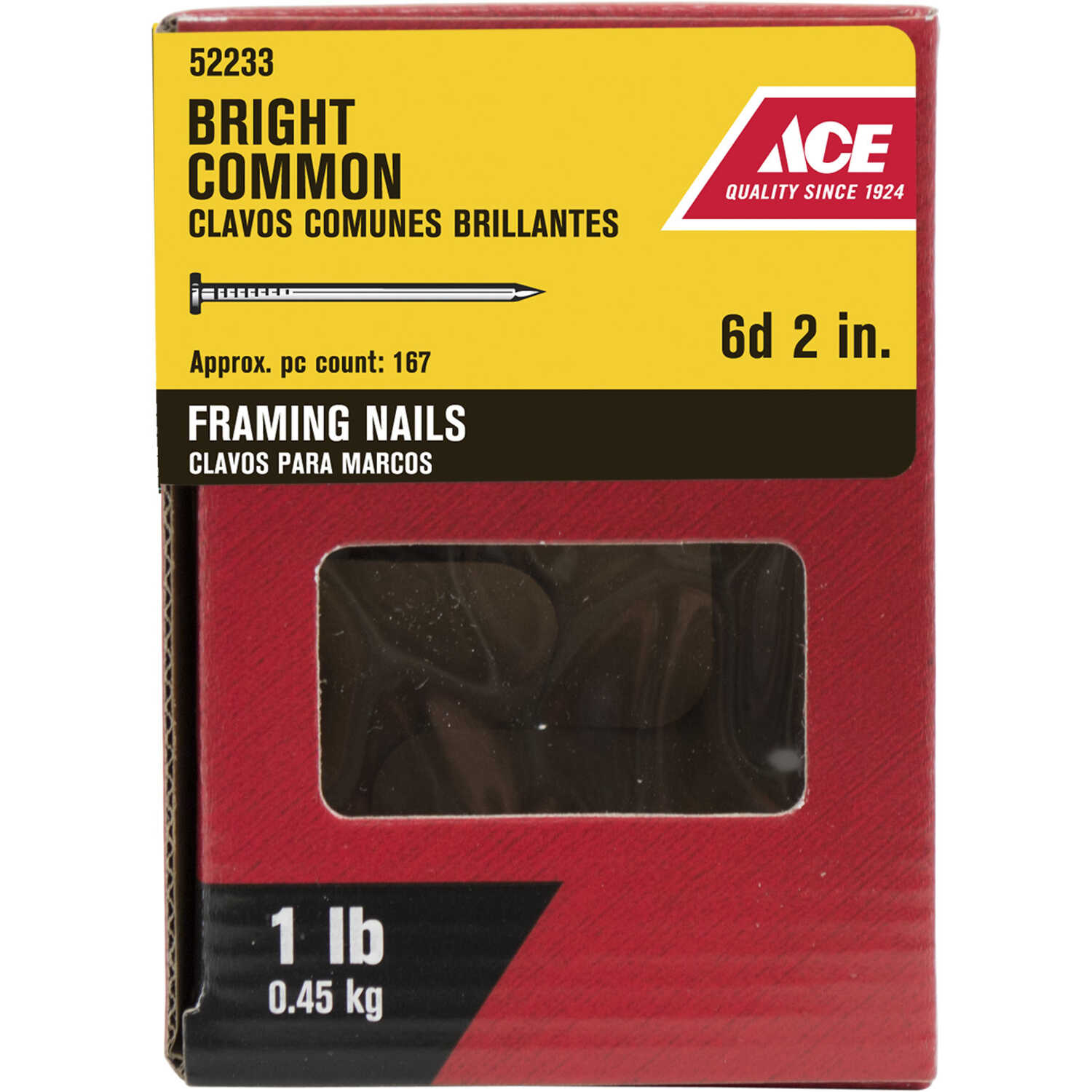 Ace  6D  2 in. L Common  Bright  Steel  Nail  Smooth Shank  Round  1 lb.