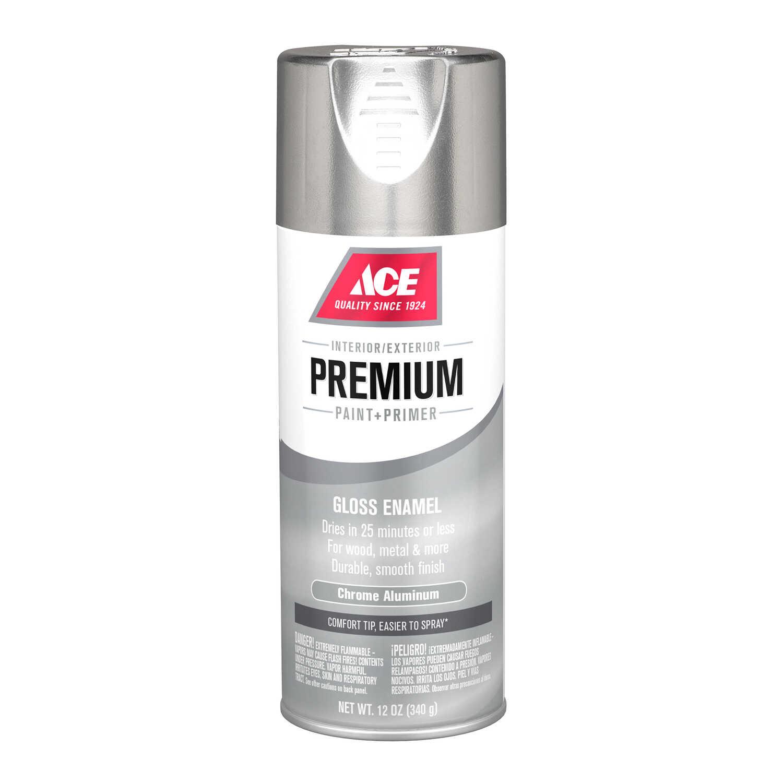 Ace Premium Gloss Chrome Aluminium Enamel Spray Paint 12 oz