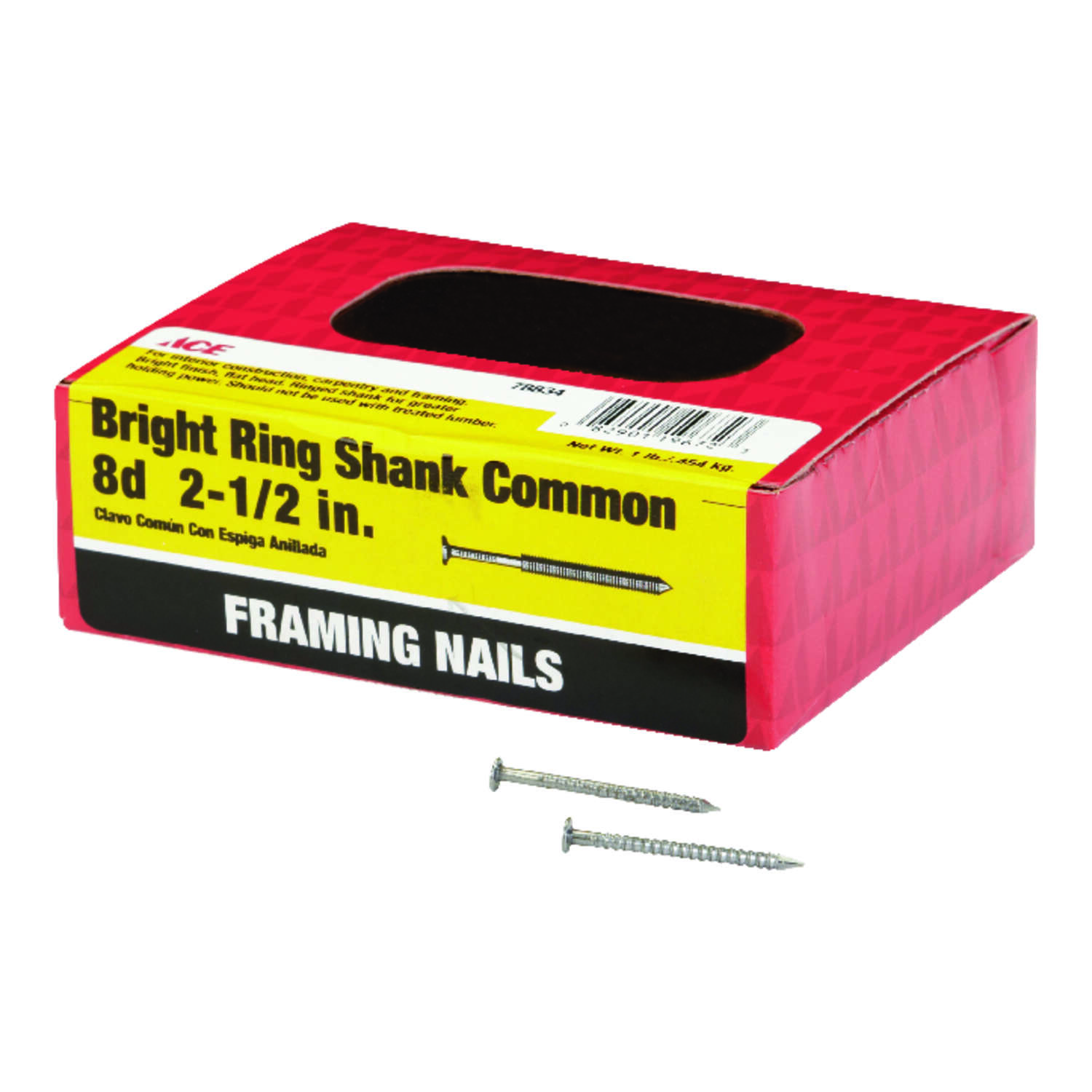 Ace  8D  2-1/2 in. Common  Bright  Steel  Nail  Flat  1 lb.