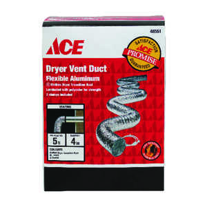 Ace  5 ft. L x 4 in. Dia. Silver/White  Aluminum  Dryer Vent Duct