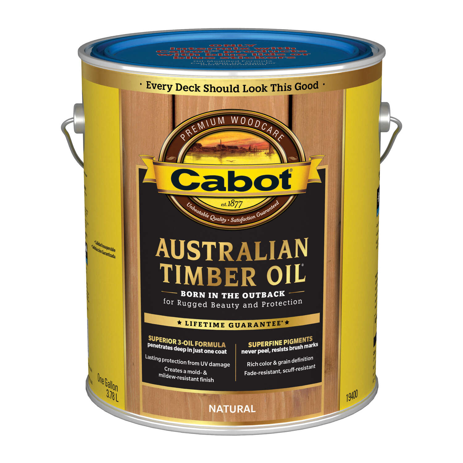 Cabot  Transparent  Neutral  Oil-Based  Natural Oil/Waterborne Hybrid  Australian Timber Oil  1 gal.