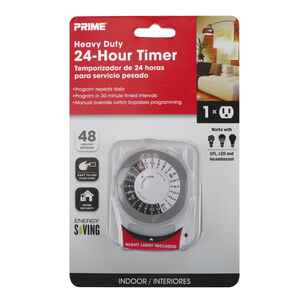 Prime  Indoor  24 Hour Mechanical Timer with Nightlight and Grounded Outlet  White