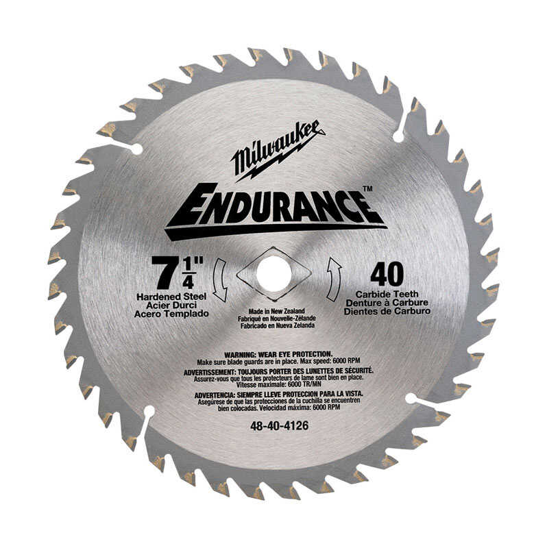 Milwaukee  Endurance  7-1/4  0.07 in. thick  Circular Saw Blade  Carbide  1 pc. 40 teeth 5/8